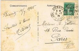 DERNIER JOUR D'USAGE DU 159 SEMEUSE SUR CPA TARIF IMPRIME 15 07 1925 DAGUIN BIARRITZ - 1921-1960: Modern Period