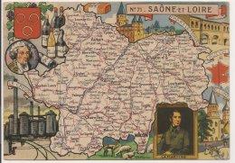 L20E031 -  Saône Et Loire - Carte Du Département , Blason - J.P Pinchon - Blondel La Rougery - N°71 - Non Classificati