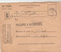 Griffe USTOU ARIEGE Cachet à Date Pointillé 23/10/1956 Sur Lettre Valeurs à Recouvrer Réexpédiées Pour Seix - France