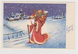 662 _ CARTE JOYEUX NOEL . PERE NOEL HOTTE CHARGEE DE JOUETS CADEAUX POUPEE VILLAGE ENNEIGE.EDIT JLP SCANS RECTO VERSO - Noël