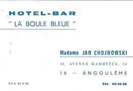 """Carte Commerciale  / Hôtel Bar """"La Boule Bleue"""" / Mme Jan CHOJNOWSKI / Angoulême 16 Charente - Cartes"""
