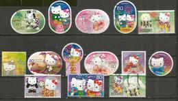 "Japanese Sanrio Characters ""Hello Kitty"", 14 Beaux Timbres Oblitérés Du JAPON - Chats Domestiques"
