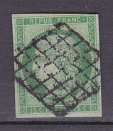N° 2 Type Cérès De 1849 à 1850 15c Vert  Signé Calves - 1849-1850 Cérès