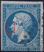 N°14A Variété Suarnet 13, Boule Au Bout Du Nez, Position 130G2, Une Marge Au Raz, Belle Variété, 1er Choix - 1853-1860 Napoleon III