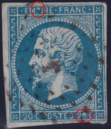 N°14A Variété Suarnet 17, Position 3G2, Tache Blanche Dans Le 0 De Droite Et Tache Blanche Dans Le P, 1er Choix - 1853-1860 Napoleon III