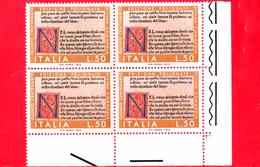 Nuovo - MNH - ITALIA - 1972 - 500 Anni Delle Edizioni Della Divina Commedia - Edizione Di Foligno - Quartina -  50 L. - 1971-80: Mint/hinged