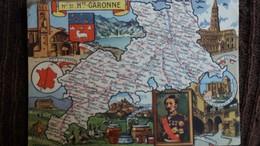 CPSM DEPARTEMENT N°31 HAUTE GARONNE GEOGRAPHIQUE DESSIN PINCHON ED BLONDEL ROUGERY BLASON CONTOUR FRANCE MAT 2 EME CHOIX - Mapas