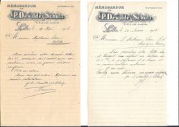 Ref 07/ 59, Lille, Dewilde Et Schulz, 1905 Et 1906, Mémorandum, Pour La Valette - France