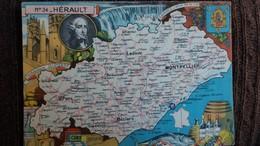 CPSM DEPARTEMENT N°34 HERAULT GEOGRAPHIQUE DESSIN PINCHON ED BLONDEL ROUGERY BLASON CONTOUR FRANCE MAT ROND STYLO - Carte Geografiche
