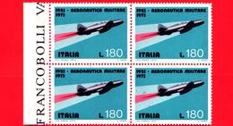 Nuovo - MNH - ITALIA - 1973 - 50 Anni Dell´aeronautica Militare - Quartina - 180 L. • Aereo A Reazione Campini-Capr - 1971-80:  Nuovi