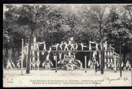CPA ANCIENNE- FRANCE- MILITARIA- JOINVILLE-LE-PONT- ECOLE NORMALE DE GYM- PYRAMIDE SUR LE PORTIQUE- TRES ANIMÉ - Regiments