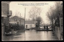 CPA ANCIENNE- FRANCE- SAINT-MAUR (94)- INONDATIONS- VILLA SCHAKEN- RUE PINET- SAUVETAGE EN BARQUE- RESTAURANT COULOMB - Saint Maur Des Fosses