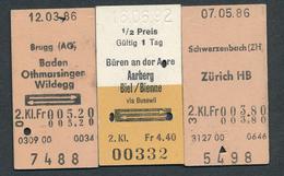 SWITZERLAND QY3368 3 Fahrkarte/billets/tickets Schwerzenbach (ZH) Brugg (AG) Büren An Der Aare 1986-92 - Railway