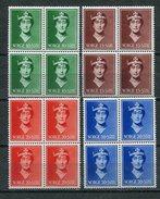 AUKTION AB 1€ / Norwegen / 1939 / Mi. 203-206 4er-Blocks ** (1236)
