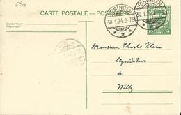 Carte Correspondance - Entier - Stationery - Korrespondenzkarte - No. 69a De Hosingen à Wiltz 1924 - Servizio