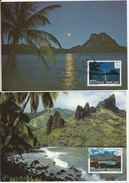 Bora-Bora & Ua Pou Marquises 1985 - 2 Carte Maximum Papeete Tahiti - Covers & Documents