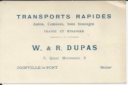 JOINVILLE LE PONT W R DUPAS CARTE DE VISITE TRANSPORT RAPIDES AUTO CAMION - Royaume-Uni