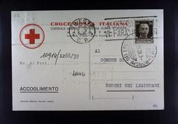 RARA CARTOLINA CROCE ROSSA ITALIANA  1939  TRIESTE COMUNE DI RONCHI DEI LEGIONARI - Croce Rossa