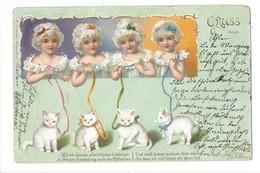 16271 - Gruss Aus  Quatre Fillettes Et Chats  Beau Cachet Aarau 1902 - Autres