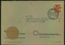 """1948,""""""""36 LUCKAU"""""""" Auf 24 Pfg. Arbeiter Auf Dienstbrief Ab (2) LUCKAU (NIEDERLAUSITZ) - Zone Soviétique"""