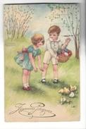 16274 - Joyeuses Pâques Couple Enfants Poussins Et Oeufs - Petersen, Hannes