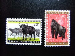 RUANDA - URUNDI 1959 FAUNA Dieren Animaux Animales Yvert Nº 205/06 * MH - Ruanda