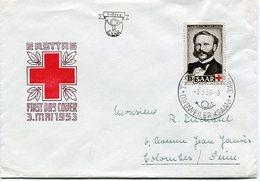 VR 113 Sarre Saar 1er Jour Henri Dunant 3.5.53 - Lettres & Documents