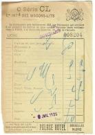 Ticket-Note/Facture. Cie Des Wagons-Lits. Wagon-Restaurant. 1925 - Facturas & Documentos Mercantiles