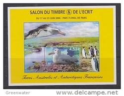 TAAF 2006 Salon Du Timbre De L'Ecrit M/s ** Mnh (34713) - Blokken & Velletjes