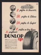 Pub Papier 1953  Automobile PNEU DUNLOP Usine Montluçon Le Bourget Nantes Gassicourt - Advertising