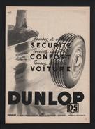 Pub Papier 1953  Automobile PNEU DUNLOP Usine Montluçon Le Bourget Mantes La Jolie - Advertising