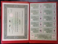 Aktie 100 Deutsche Mark Ahrtalbank AG Ahrweiler 1952 Mantel Und Bogen Blankette - Bank & Versicherung