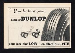 Pub Papier 1956  Automobile PNEU DUNLOP Usine Montluçon   Pilote Dessin SAVIGNAC - Advertising