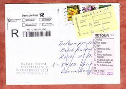 Einschreiben Reco Aus Deutschland, Nach Luxemburg, MiF Blumen, Nicht Abgeholt, Zurueck 2012 (34857) - Storia Postale