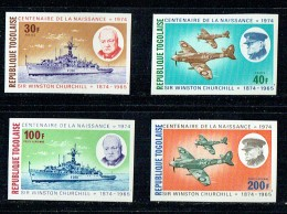 1974  Centenaire De La Naissance De Churchill   Avion, Navire  Série De 4 Non Dentelés ** - Togo (1960-...)