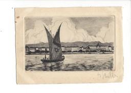 16290 - Genève Eau-forte Originale Barque à Voile - GE Ginevra