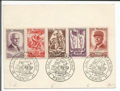 Bande De 5 Timbres Au Profit Du Secours National Sur Carte Salon De La Marine 1943 (9.6.43) - Frankreich