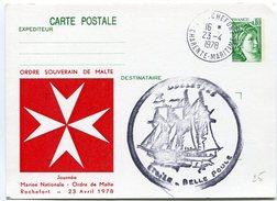 VR 118 France Entier Postal Repiqué Ordre De Malte Et Cachet Etoile Belle Poule De Rochefort - Autres