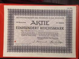 Aktie 100 Reichsmark Aktiengesellschaft Bad Neuenahr 1934 Kur AG - Tourismus