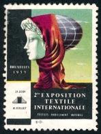 Vignette BRUXELLES 2e Exposition Textile Internationale 1955  ..Réf.FRA28841 - Erinnophilie