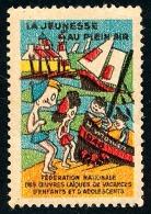 Vignette Humour 1946 'Jeunesse Au Plein Air - Oeuvres Laïques Vacances Enfants Et Adolescents'  ..Réf.FRA28844 - Erinnophilie