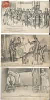 Humour Au Village ( Le Repas De Boudins, Le Mariage à Jacques Lhoumiat, Le Coucher) (trois Cartes) (C LESTIN) - Autres