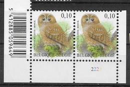 3956 Hoekzegel X 2 Met Bosuil En En Plnr 2  En Barcode - Plattennummern