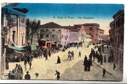 San Donà Di Piave  Via Maggiore - Formato Piccolo - Primi 900 -animatissima - Acquarellata - Venezia (Venice)