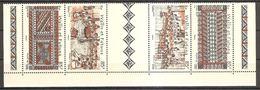 Wallis Und Et Futuna 2006 Tapa Kunst Michel No. 938-41Z Se Tenant Avec Vignette MNH Postfrisch Neuf - Ungebraucht