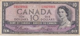 BILLETE DE CANADA DE 10 DOLLARS DEL AÑO 1954  (BANKNOTE) RARO - Canada