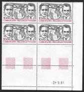 FRANCE 1981 YT Avion N° 55 10,00 COSTES Et LE BRIX Bloc De 4 Coin Daté, Neuf, ** - Airmail