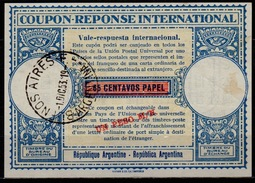 ARGENTINA, London Type XVa UN PESO / 65 Centavos Internat. Reply Coupon Reponse Respuesta Antwortschein IRC IAS O B.A. - Ganzsachen