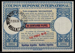 ARGENTINA London Type XVa UN PESO /  65 Centavos Intern. Reply Coupon Reponse Respuesta Antwortschein IRC IAS O B.A.1953 - Interi Postali