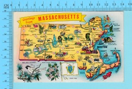 Maps, Cartes Géographiques - Massachusetts - State Bird,  Flower, Flag , Used In 1963 Cover Fairhaven - 2 Scans - Cartes Géographiques